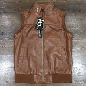 Fried denim brown vests for men small NWT